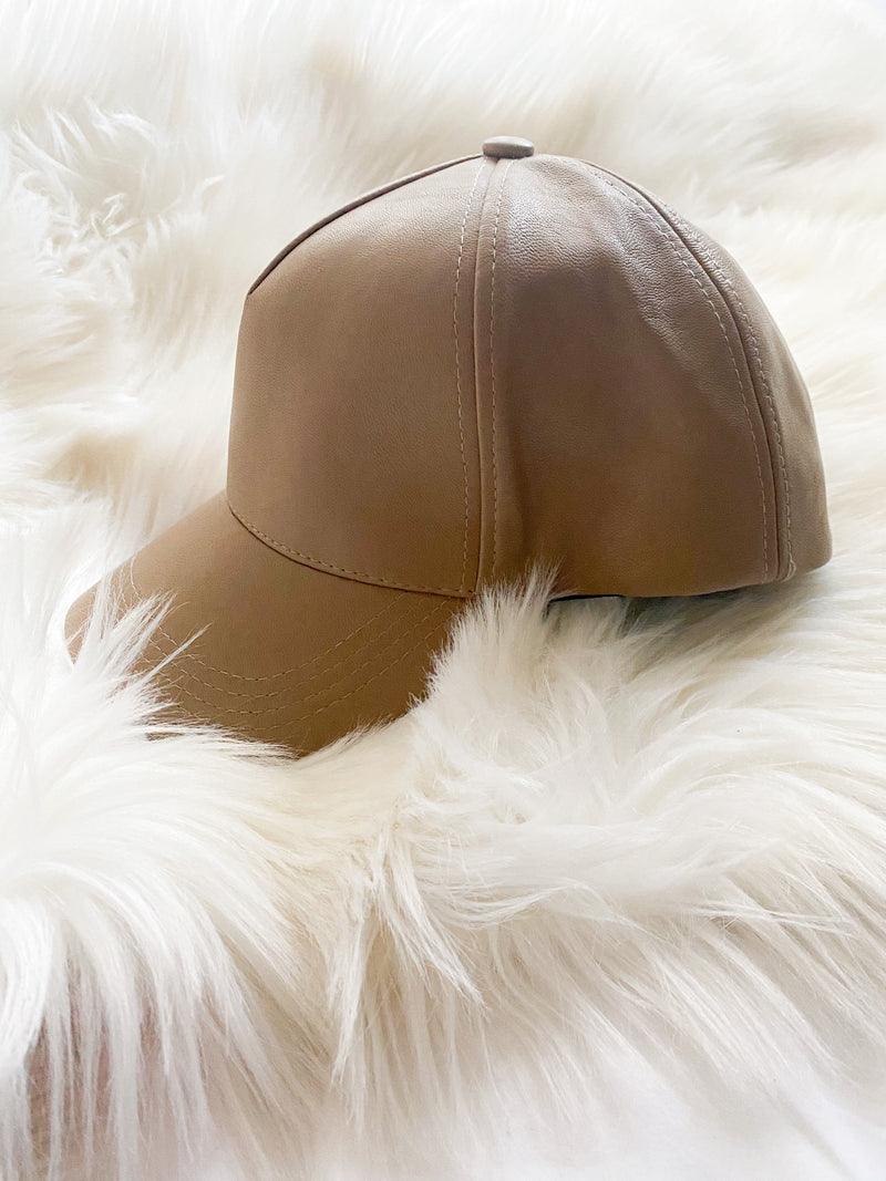 Olive & Pique Faux Leather Cap in Mocha