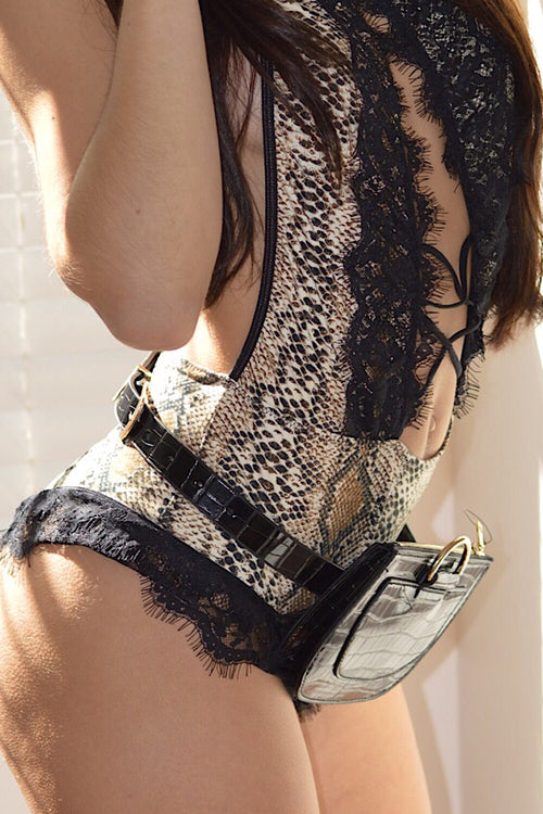 Can't Stop Me Snakeskin & Lace Halter Bodysuit -FINAL SALE