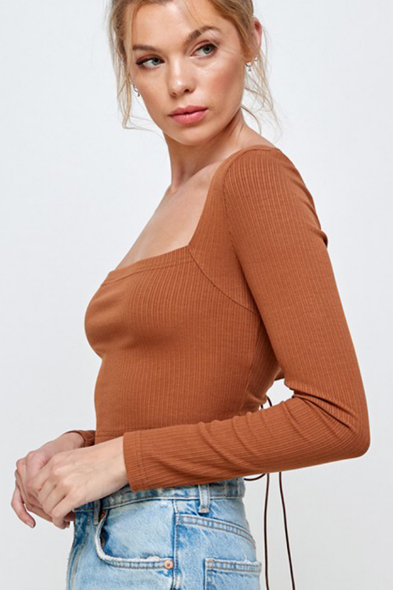 Nyla Lace Up Back Detail Top
