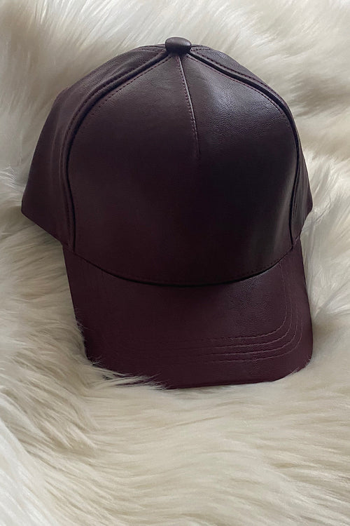 Olive & Pique Faux Leather Cap in Wine