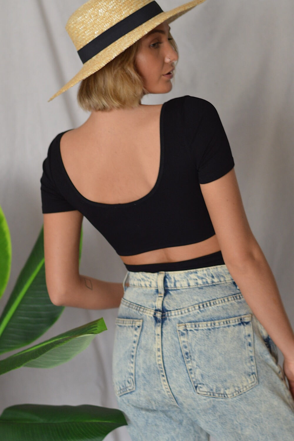 Tied Up Crop Top Black