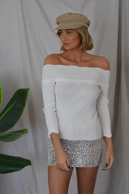 Date Night White Long Sleeve Top