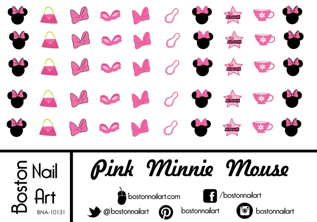 Pink Minnie Mouse - Set of 50 - Waterslide Nail Decal