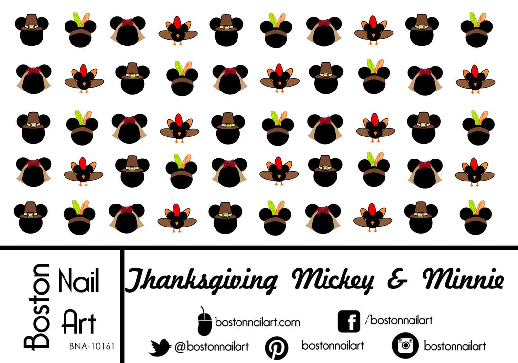 Thanksgiving Mickey & Mickey Mouse - Set of 50 - Waterslide Nail Decal