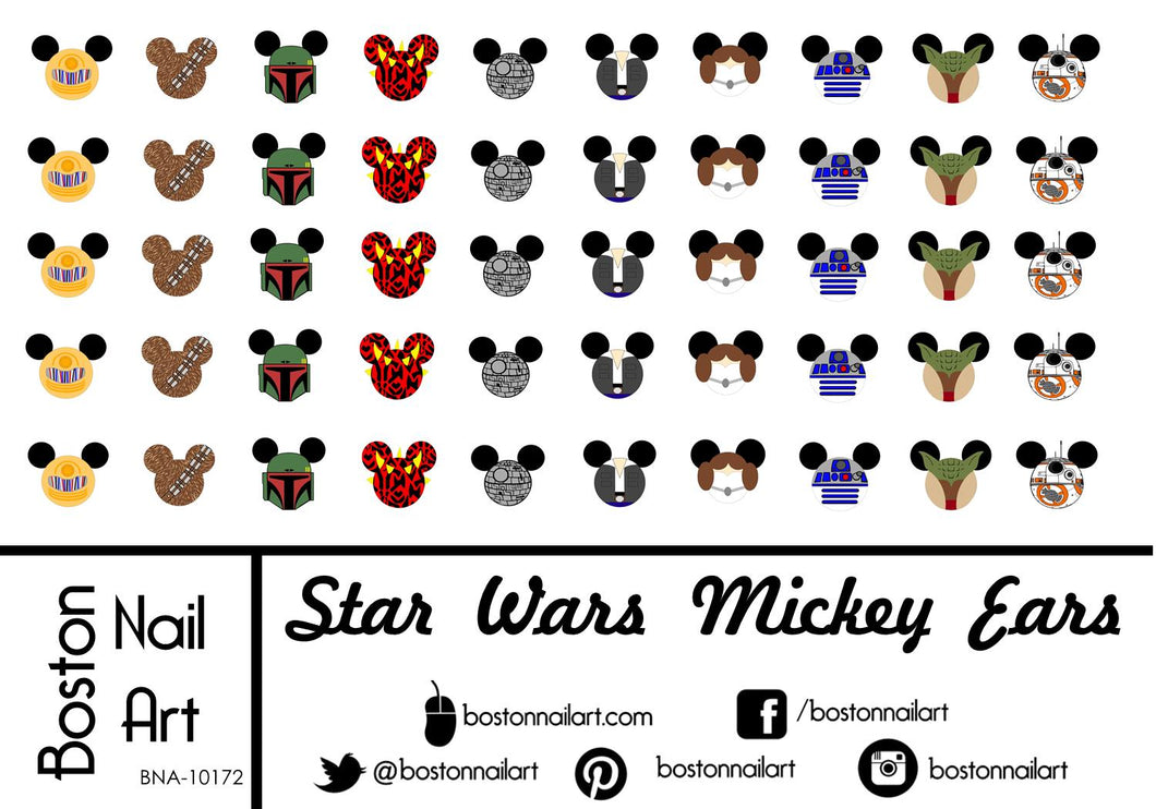 Star Wars Mickey Ears - Set of 50 - Waterslide Nail Decal