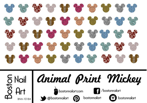 Animal Print Mickey Mouse - Set of 50 - Waterslide Nail Decal