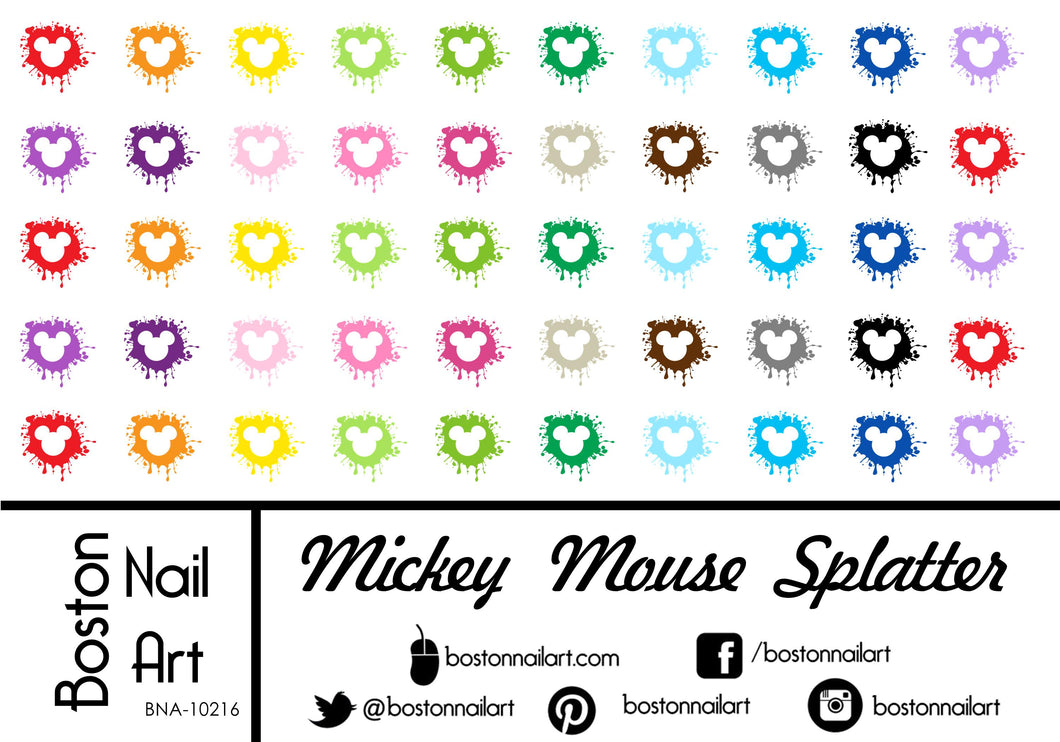 Mickey Mouse Splatter - Set of 50 - Waterslide Nail Decal