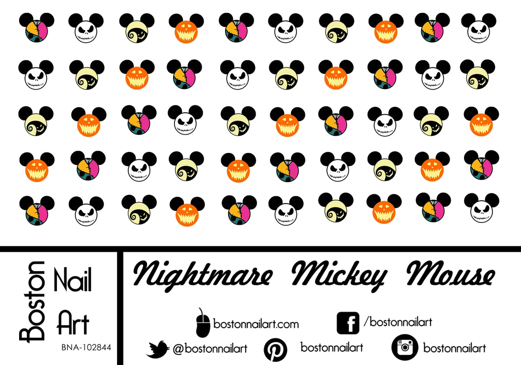 Nightmare Before Christmas Mickey Mouse - Set of 50 - Waterslide Nail Decal