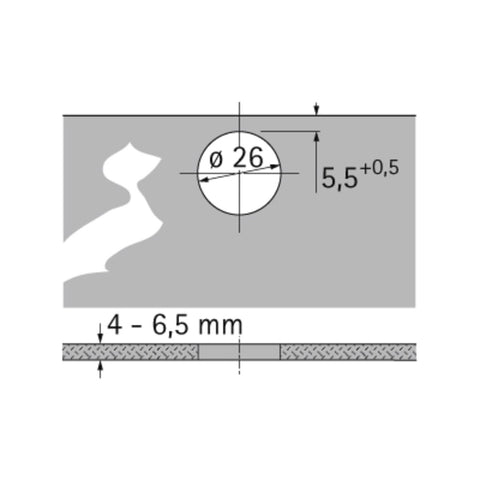 Hettich Intermat 9904-T 95° Screw on Glass Door Hinge Full Overlay