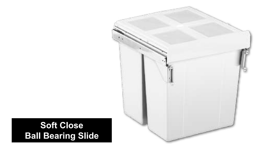 62L Door Mounted Soft Closing Twin Bin - White