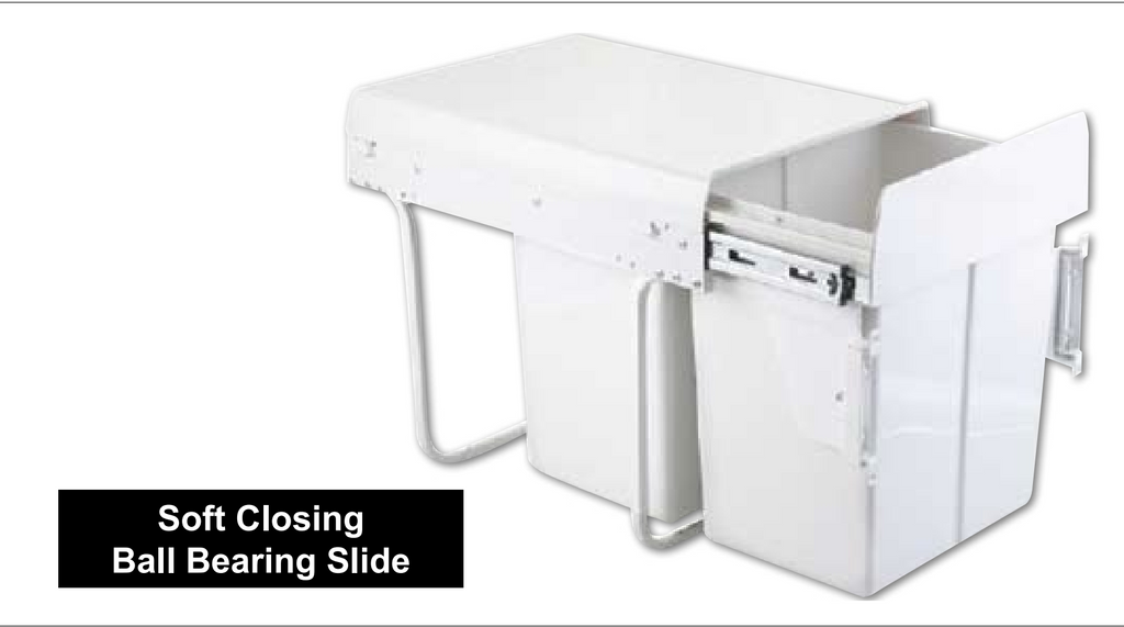 40L Door Mounted Soft Closing Twin Bin - White