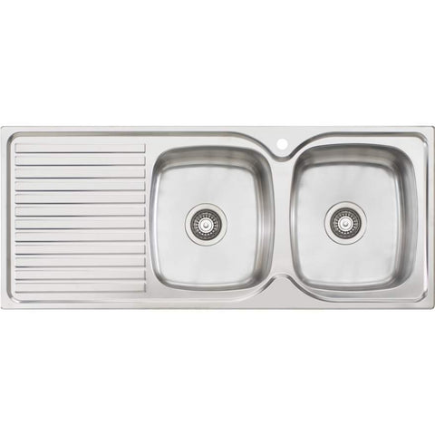 Oliveri Endeavour Double Bowl Topmount Sink with Drainer