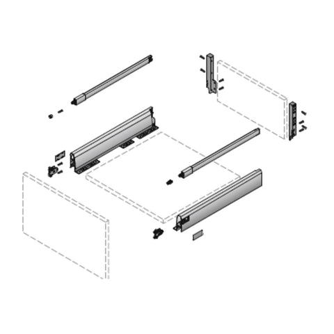 Hettich ArciTech Drawer Set with DesignSide Silver