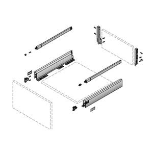 Hettich ArciTech Drawer Set with Railing Silver