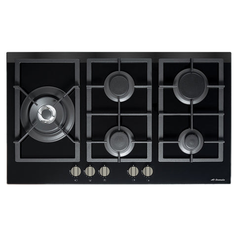 Domain 87cm 5 Burner Gas on Glass Cooktop + FFD + Side Wok Burner