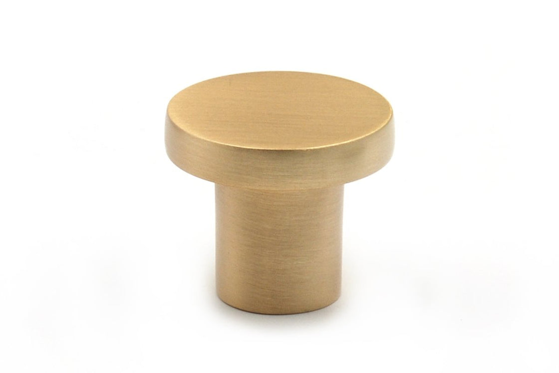 Bessie Flat Knob 32mm Dia. Brushed Brass