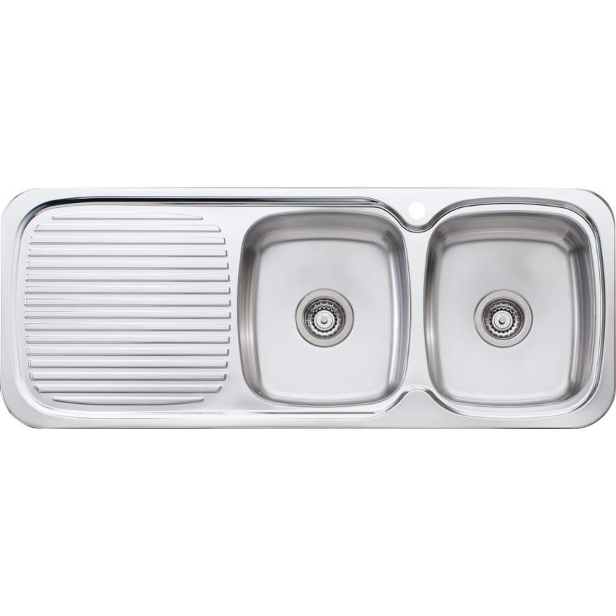 Oliveri LakeLand Double Bowl Topmount Sink with Drainer