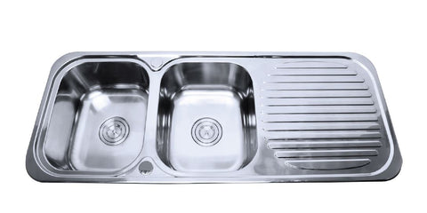 Double Bowl Sink 1180 x 480 Left Hand Bowl