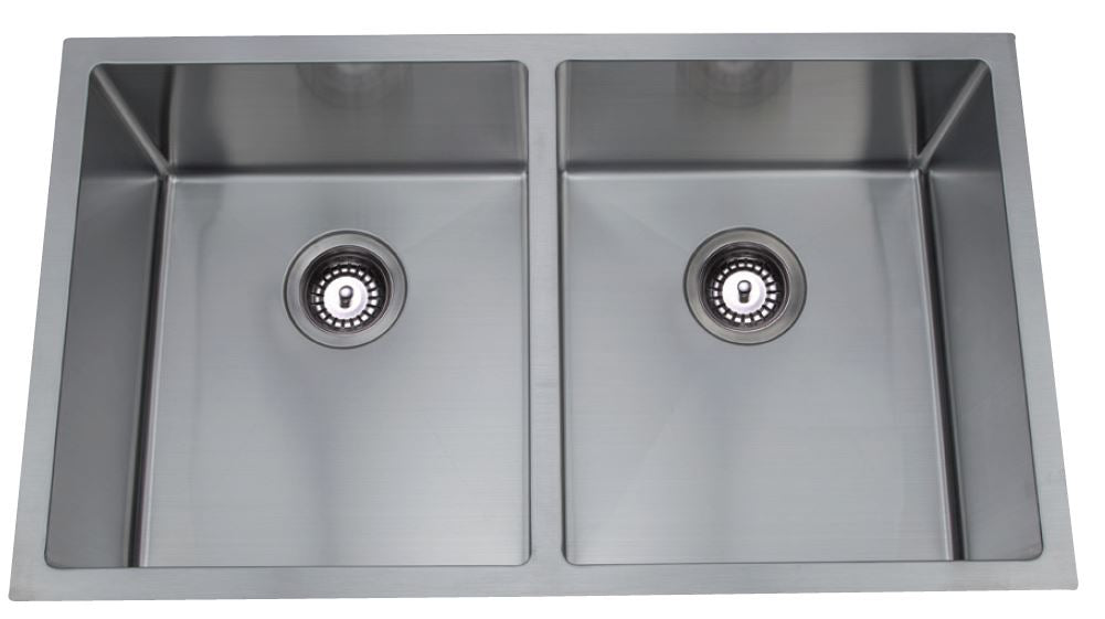Under/Overmount Double Bowl Sink 760x440x230