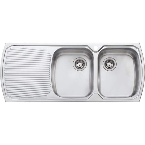 Oliveri Monet Double Bowl Topmount Sink with Drainer