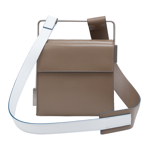 Easy To Love (Leather Shoulder Strap) - Taupe-White