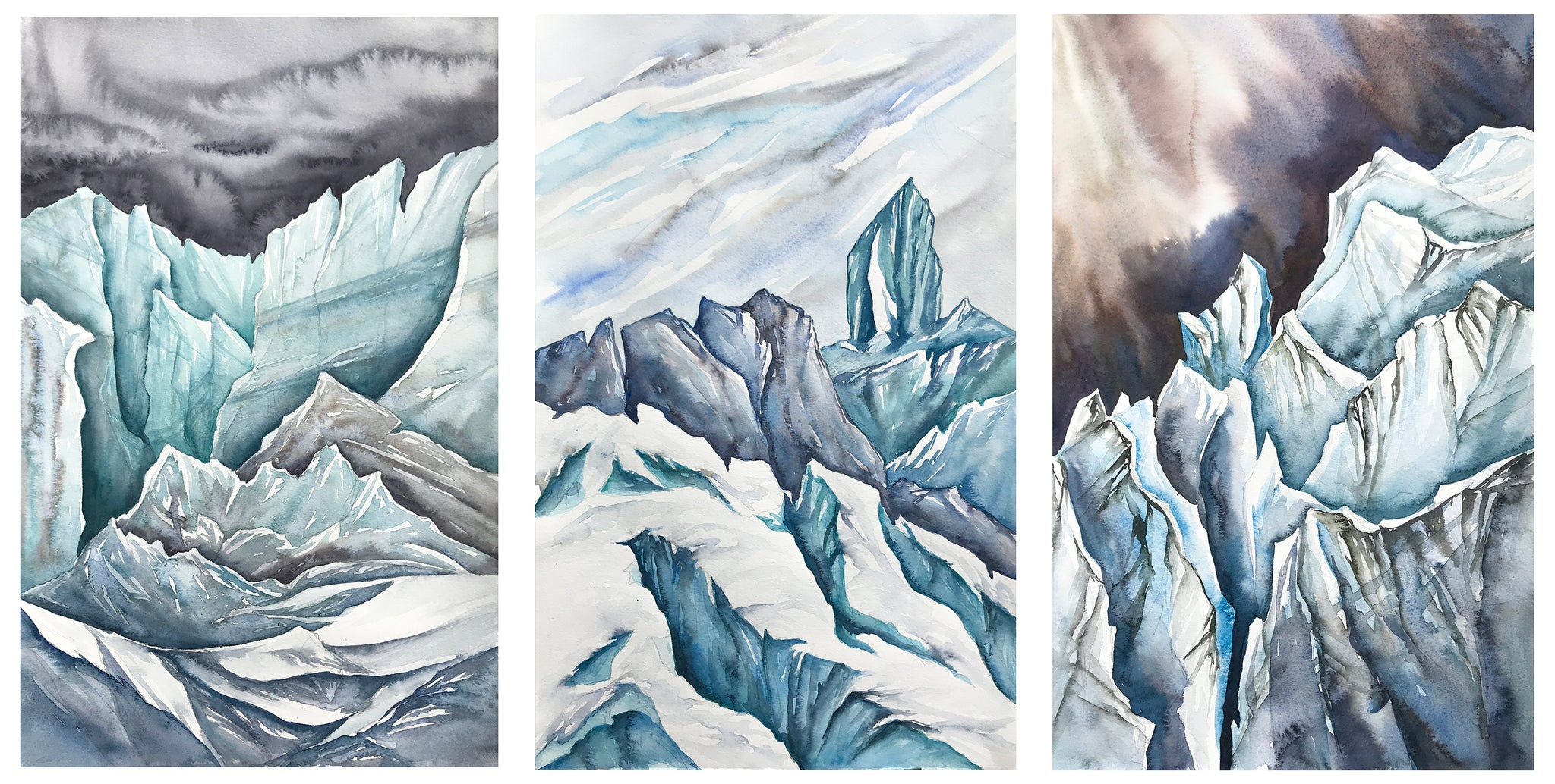 Giordano paintings of three glaciers in Chamonix.