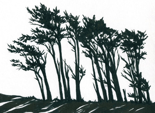 Ink Painting: Coastal Trees