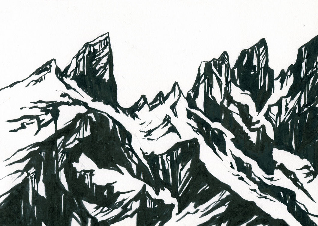 Ink Painting: North Cascades