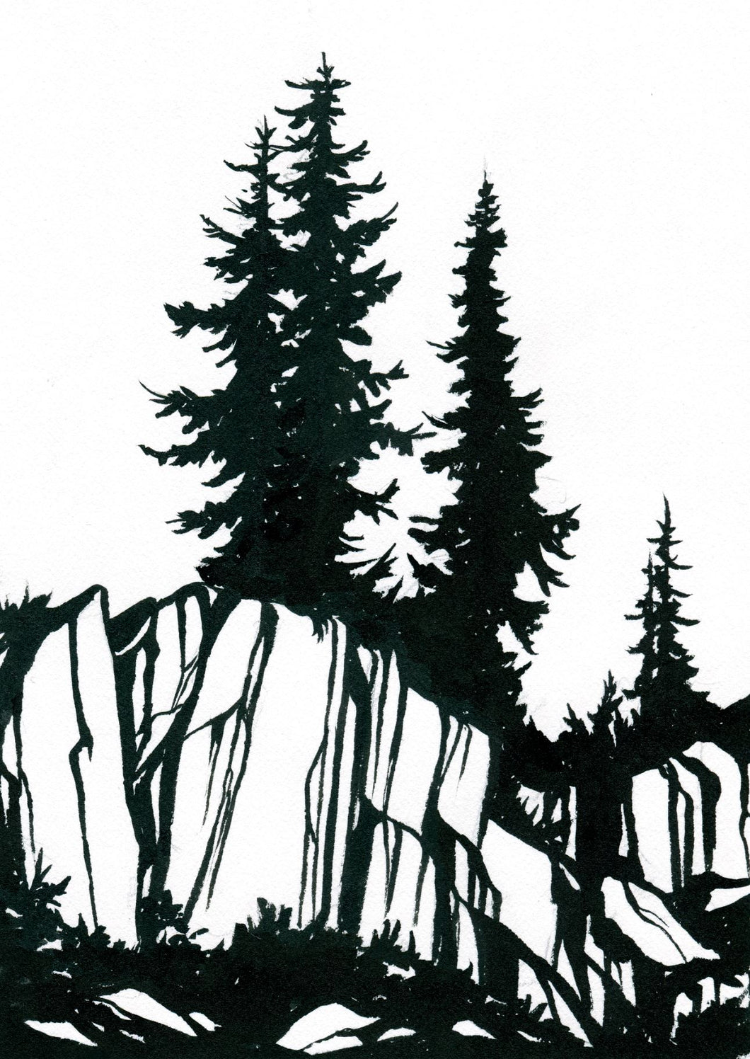 Ink Painting: Alpine Trees