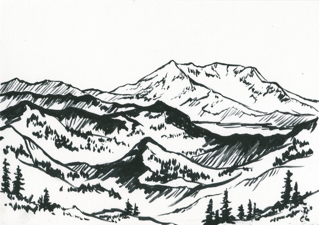Mount Saint Helens Original 5x7 (Ink Painting)