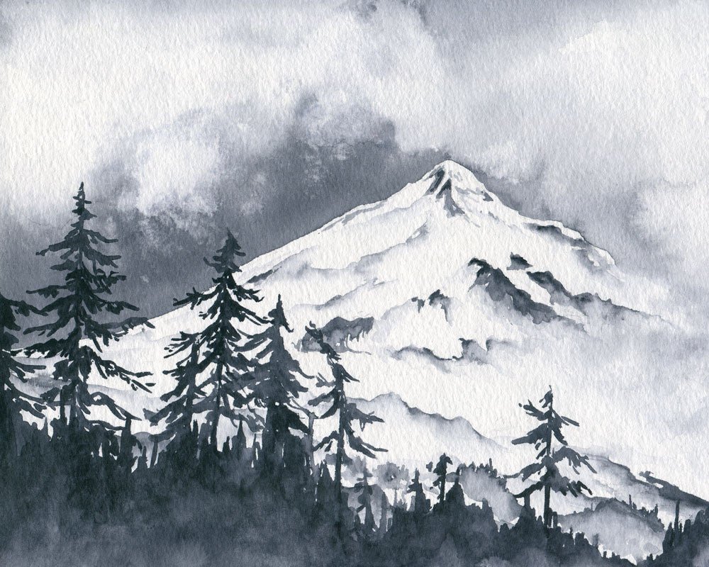 Stormy Mount Baker Original (Watercolor)