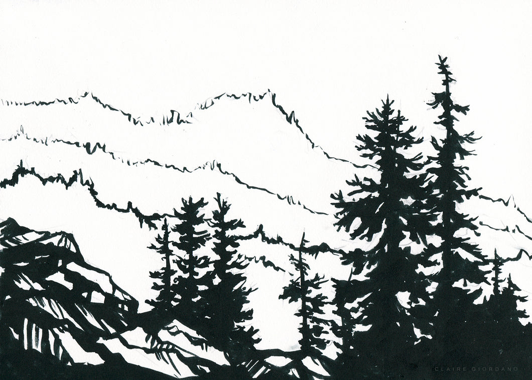 Treeline Original 5x7 (Ink Painting)