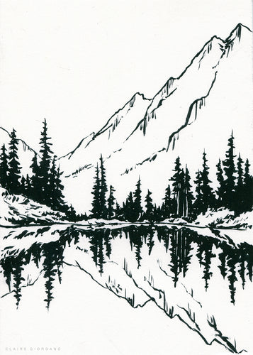 Alpine Lake Original 5x7 (Ink Painting)