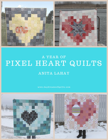 """A Year of Pixel Heart Quilts"" ebook"