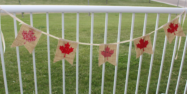 Canadian Flag Pillow and Canada Day Burlap Bunting Free Tutorials