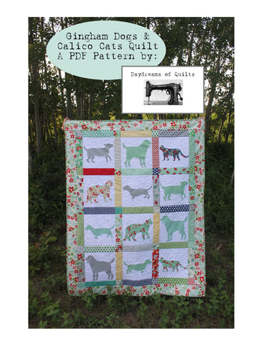 Gingham Dog and Calico Cat PDF Quilt Pattern