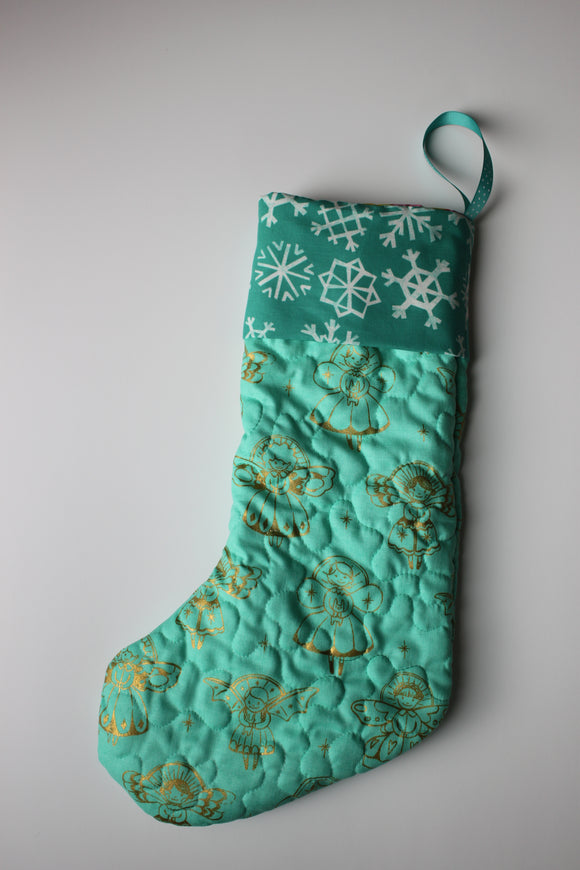 Turquoise and Teal with Gold Angels Christmas Stocking