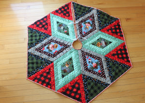 Buffalo Plaid and Christmas Animals Hexagon Shaped Tree Skirt