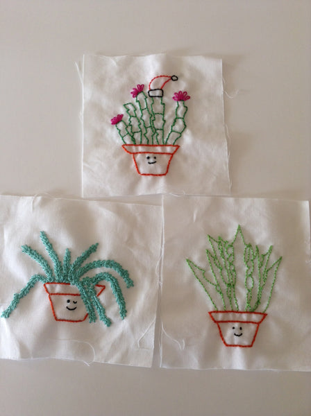 Succulent Sweeties Plant Embroidery Pattern with a Christmas Cactus, Burro's Tail and Aloe Vera Plant