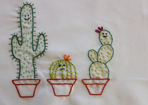 Cute Cactus Kawaii Cacti Embroidery Pattern