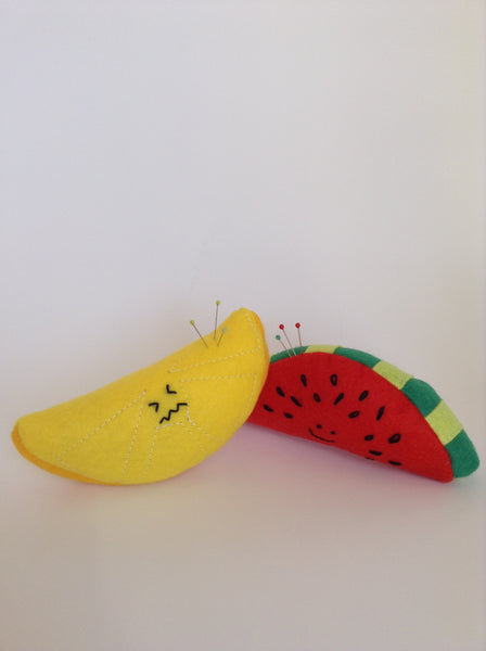 Cute Fruit Watermelon and Lemon Wool Felt Pincushions