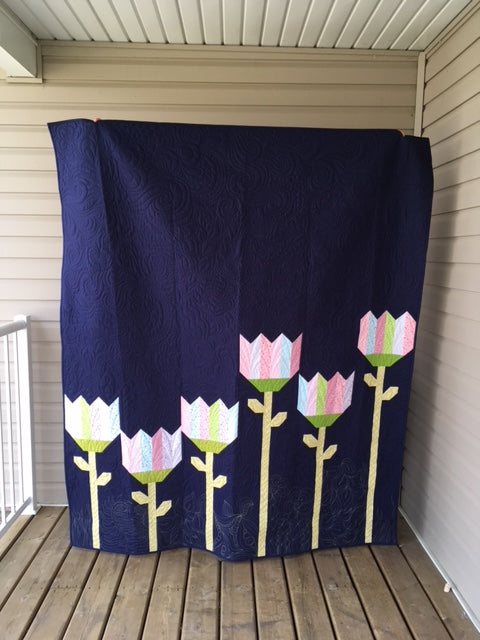 Modern Tulips Twin Throw Quilt