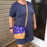 Gold Metallic Skull on Purple with Cork Accents Cross-body Bag