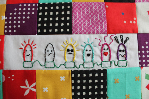 Cute Christmas Lights PDF embroidery pattern Christmas Lights String of Characters with bonus larger version of the Derpy Christmas Light