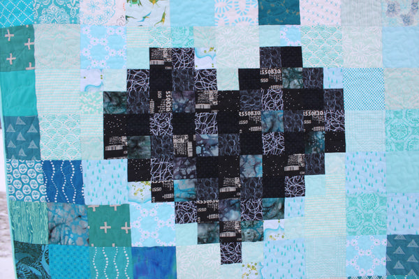 Pixel Heart in a Pixel Heart Custom Quilt Choose Your Colours
