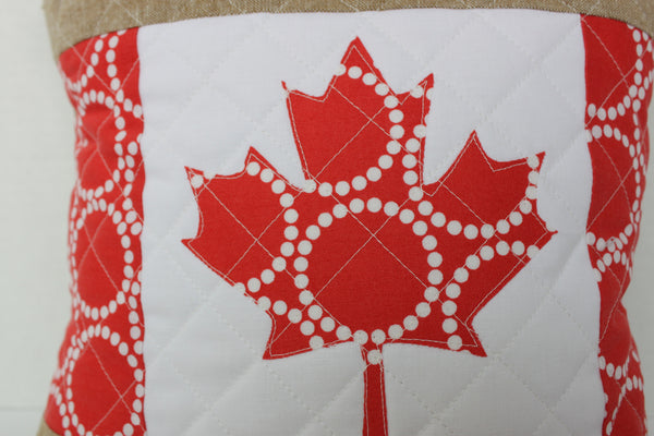 Canadian Flag Throw Pillow Cover Quilted with Cross Hatches Cotton and Linen
