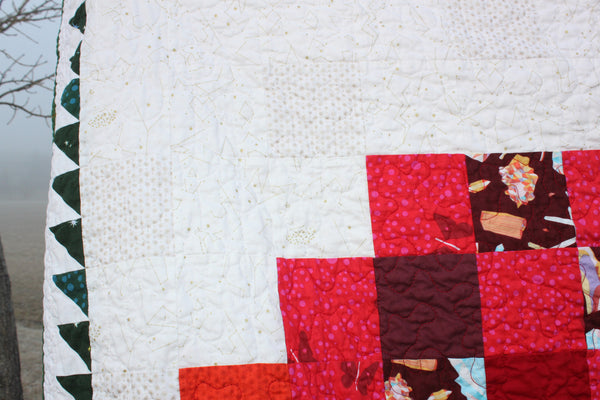 Pixel Tree in a Pixel Heart PDF Quilt Pattern, Christmas Quilt, Tree Lover's Quilt