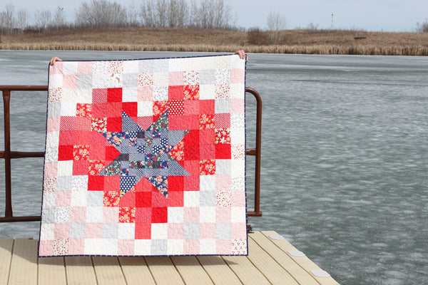 Pixel Star in a Pixel Heart PDF Quilt Pattern