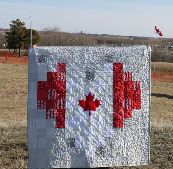Canadian Flag Pixelated Heart Quilts PDF Pattern