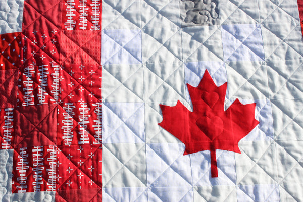Canadian Flag Pixel Heart Quilt or Canadian Flag in a Pixel Heart Quilt